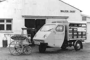 An Early 3-wheel Reliant Milkfloat and original Osborne Dairy Vehicles Milkcart with Milk Churn