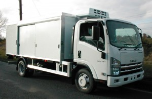 "Side View of Isuzu N75.190 ""Safeload"" Dairy Delivery Vehicle"